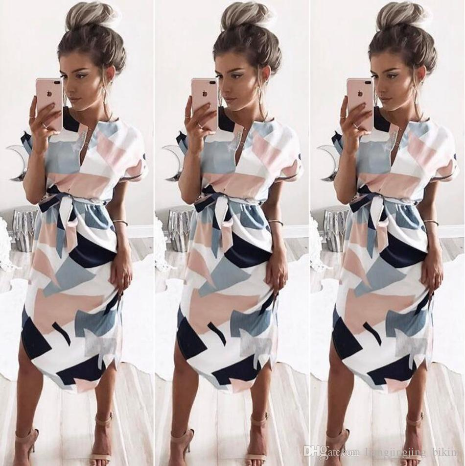 75c2a904a7a Summer Dress Party Office Pencil Sexy Casual Color Block Geometric Print  Midi Short Sleeve Deep V Neck Dresses With Belt LJJO4523 Black Womens Dresses  Party ...