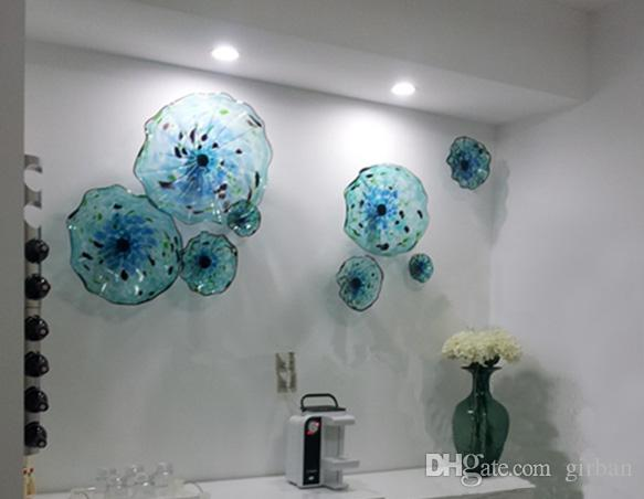 2019 Blue Flower Plates Wall Art Italian Style Blown Glass Hanging Decor Murano Plate For Living Room Dining From Girban
