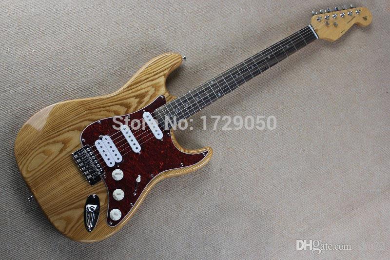 Frete Grátis Chinês instrumento Personalizado loja ST Natural cor De Madeira S S H guitarra Elétrica VERMELHO Pickguard 1110