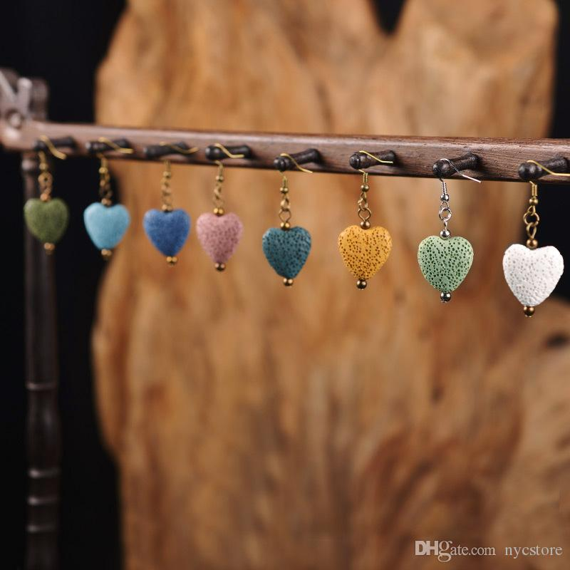 Sweet Heart-shaped Colored Lava-rock Charm Earring Aromatherapy Essential Oil Diffuser Dangling Earrings Women Fashion Perfume Jewelry