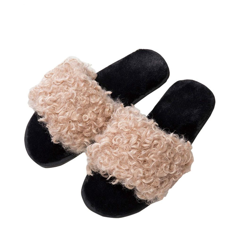 68334734c Winter Shoes Women Slippers Sheep Wool Fur Non Slip Soft Plush Outdoor  Female Slippers Winter Indoor Shoes For Ladies Womens Loafers Fashion Shoes  From ...