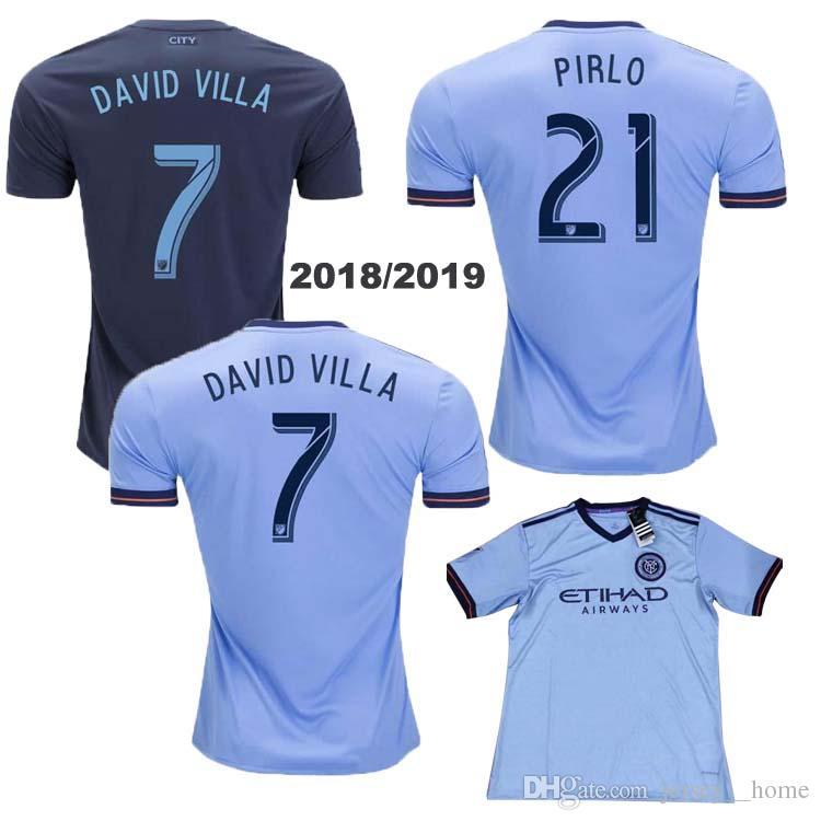 Compre 2018 Fan Version New York City Camisas De Futebol Jersey Jersey  Futebol 18 19 NYC Casa Pirlo Camiseta De Futbol David Villa Maglie De  Jersey  home 13fea1b4384a6