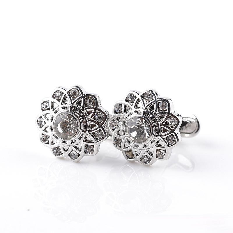 Erkek Lüks Kol Düğmeleri Ile Moda Hollow Çiçek Kol Düğmeleri Temizle Rhinestone Manşet Bağlantılar Kadınlar Için Fit Düğün Iş Gömlek