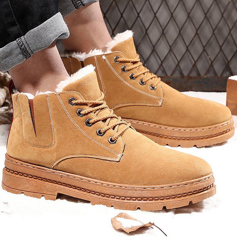 fc58c63e6ff Compre 2019 Botines Hombres Zapatos De Moda De Felpa Cálida Plataforma  Antideslizante Botas De Nieve Resistentes Al Desgaste Cómodo Martin Botas  Con ...