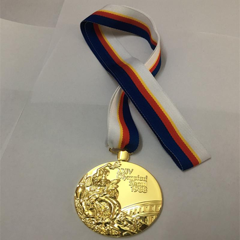 10 Pcs The 1988 Korea Seoul Olympic Games gold medal sport art gold plated  badge with Ribbon collectible medal
