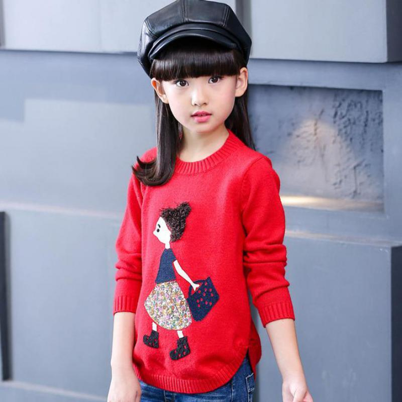 248fc0e12 Kids Sweater 2017 Autumn Winter Girls Cotton Children Cartoon ...