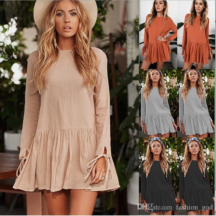 fc17654389a Dresses Long Sleeve Loose Dress Pleated Shirt Dress Tunic Tops Women  Fashion Blouse Round Neck Cotton Linen Dresses Women's Clothing B3752