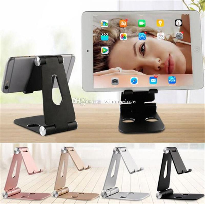 Universal Multi-angle Adjustable Phone Holder Aluminum Metal Foldable Mobile Phone Tablet Desk Holder Stand for iPad iPhone