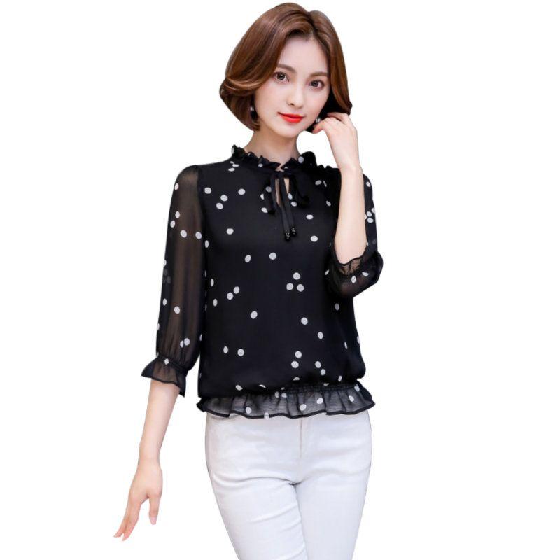 fe8d872b6 Compre 2018 Blusa De Gasa De Primavera Verano Mujer Floja Negro Lunares  Blancos Volantes Con Cordones De La Camisa Blusas Y Blusas Para Mujer S 3XL  MY649 A ...