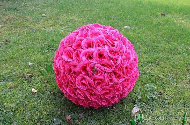 Elegant White Artificial Rose Silk Flower Ball Hanging Kissing Balls 30cm 12 Inch Ball For Wedding Party Decoration Supplies