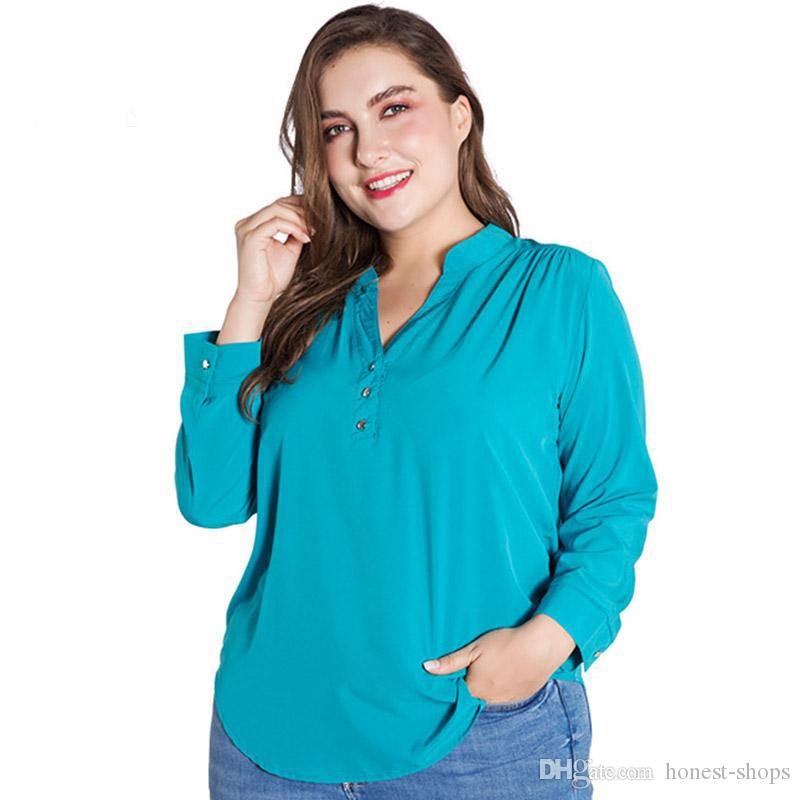 f55b709c23b 2019 Miaoke Plus Size Womens Tops And Blouses Clothes 2018 Fashion Long  Sleeved Pullover Chiffon Blouse Large Size Ladies Tops From Honest Shops