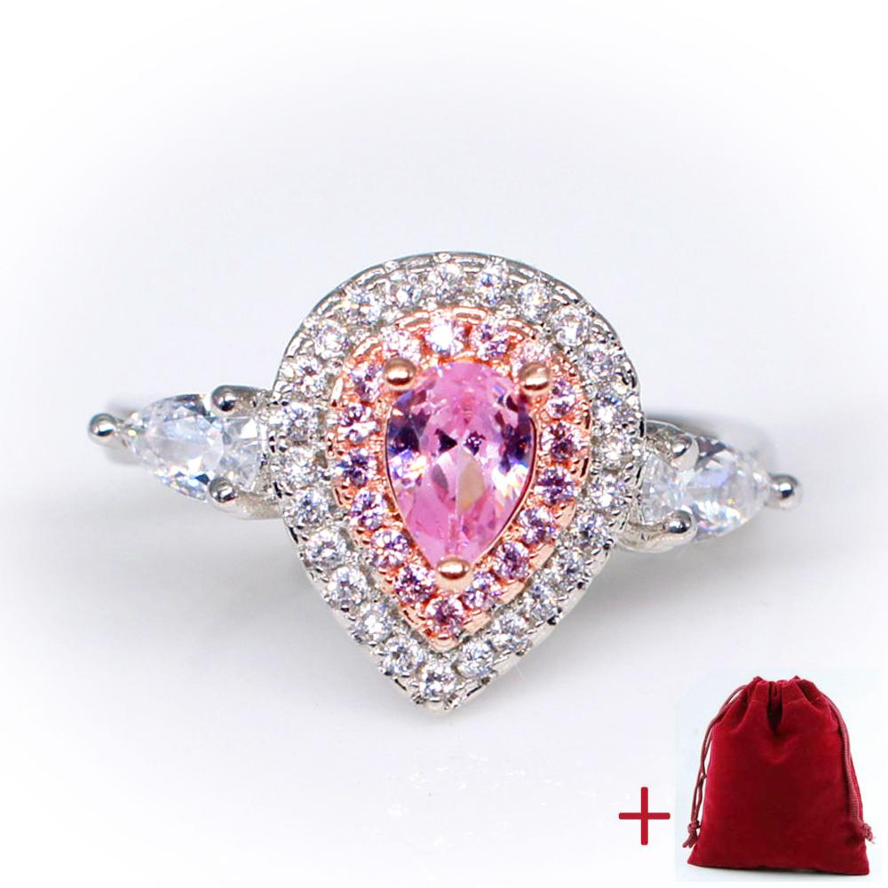 GR.NERH Romantic Wedding Rings Silver Color Fashion Pink Cubic ...
