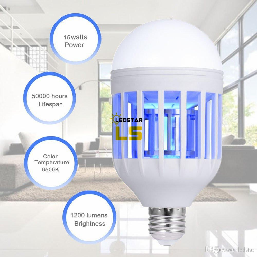 E27 15W LED Mosquito Killer Bulbos Lámpara Luz Eco Mosquito Killer Hogar Anti-Mosquito Electric Insect Killer Bulb 110V 220V