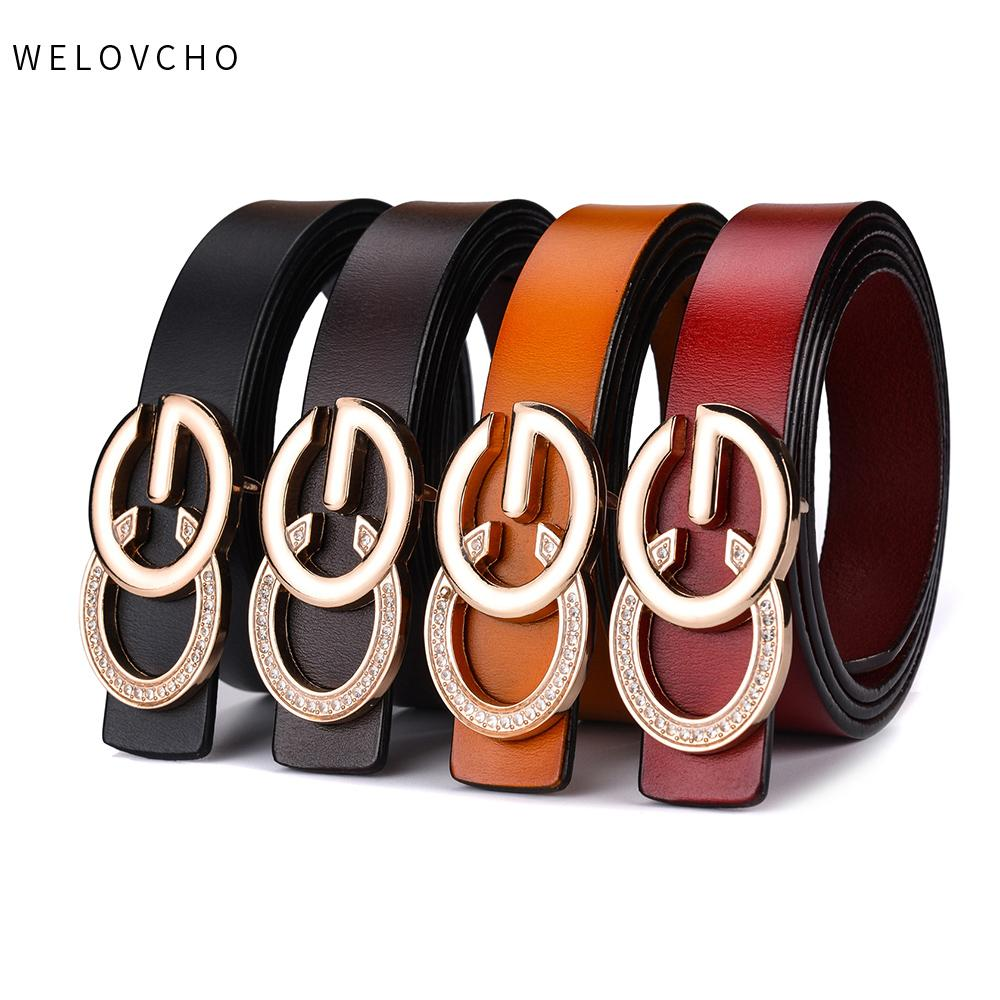 d0577b757 WELOVCHO Fashion CG Women's Belt Split Genuine Leather 2.3cm Diamond Shape  Decoration Letter Solid Metal Buckle For Lady