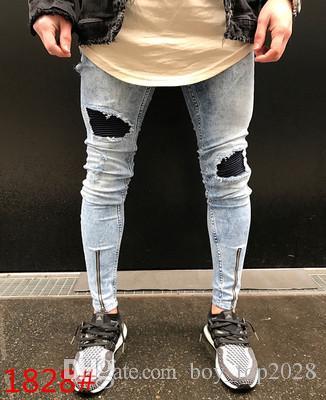Nuevo 2018 de alta calidad pantalones vaqueros delgados de algodón 28-38 pantalones de motocicleta de los hombres cintura engrosada pantalones vaqueros de los hombres pantalones de cremallera pies