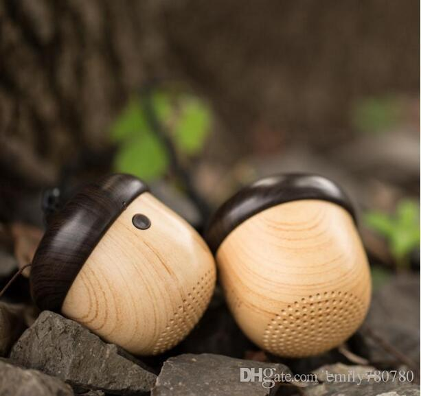 Nut Speaker Portable Mini Wooden bluetooth mini Travel Design with Built-in Microphone & Strap Wood Loudspeaker for iPhone & Android Retail