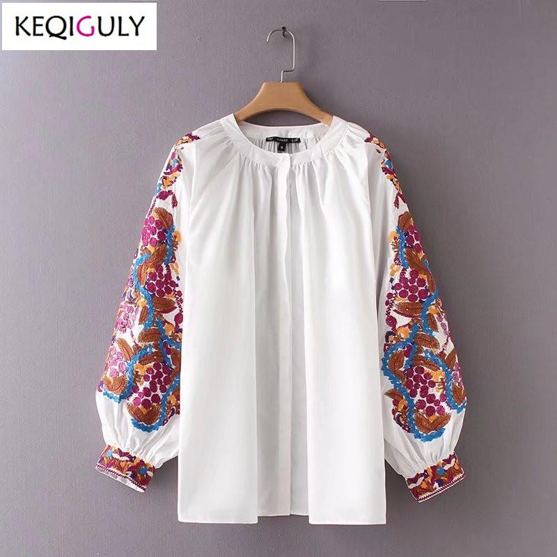 d28466be8eea0 2019 Spring 2018 Women Blouses New Fashion Simple Joker Embroidered ...