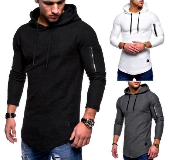 59354984881d 2018 modelos de explosión de color sólido de los hombres de cuello redondo  con capucha de manga larga T-shirt brazo cremallera costura camiseta ...