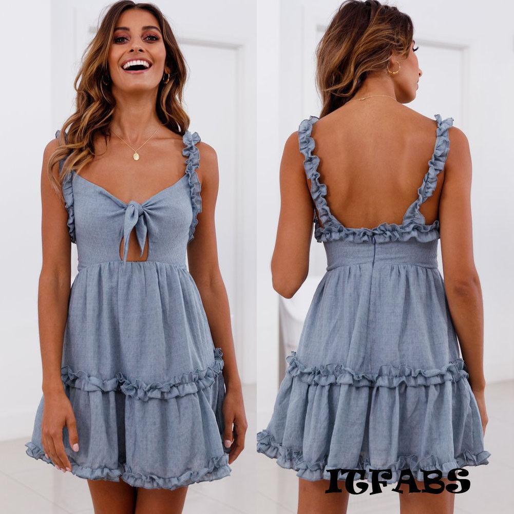 444382121466 Women Summer Boho Casual Mini Dress Ruffles Sleeveless Evening Party Beach  Dress Sundress Elegant Short Dress Vestidos Dress For Womens White Summer  Dresses ...