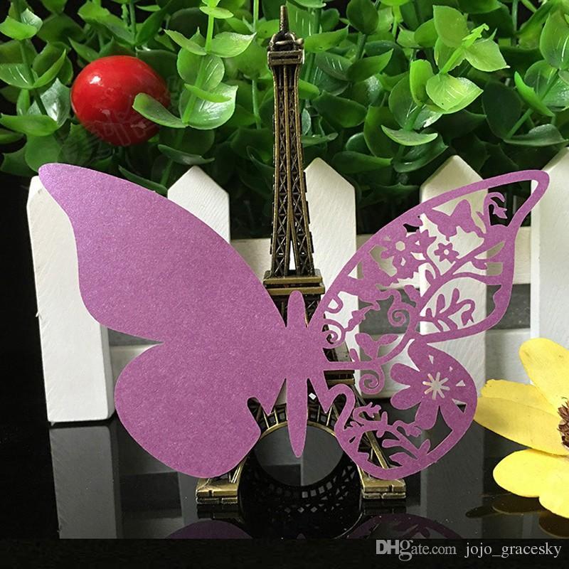 Fiesta de la boda del corte del laser / liberan la Tabla nacarado Nombre Lugar Copa Tarjetas hueco de la mariposa Diseño Favores de la boda Suministros para fiestas