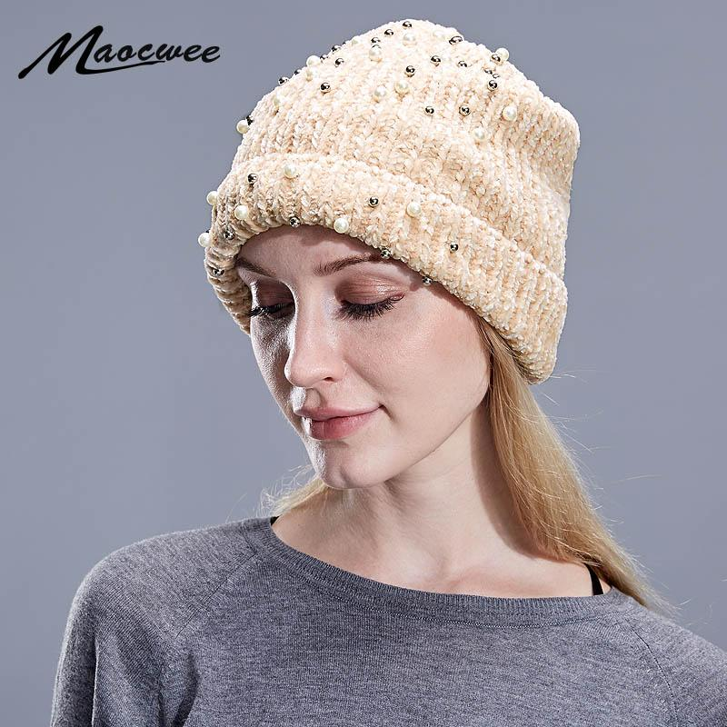 3a12a4a3476 Women S Winter Hat Knitted Wool Flannel Beanies Female Fashion Skullies  Casual Outdoor Ski Caps Thick Warm Hats For Women Slouchy Beanie Skull Cap  From ...
