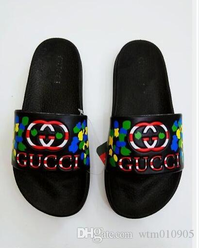 377aea3c 2019 Black Rubber Slide Sandal Slippers Green Red White Stripe Fashion  brand Designer Men Classic Ladies Summer Flip Flops 44 45