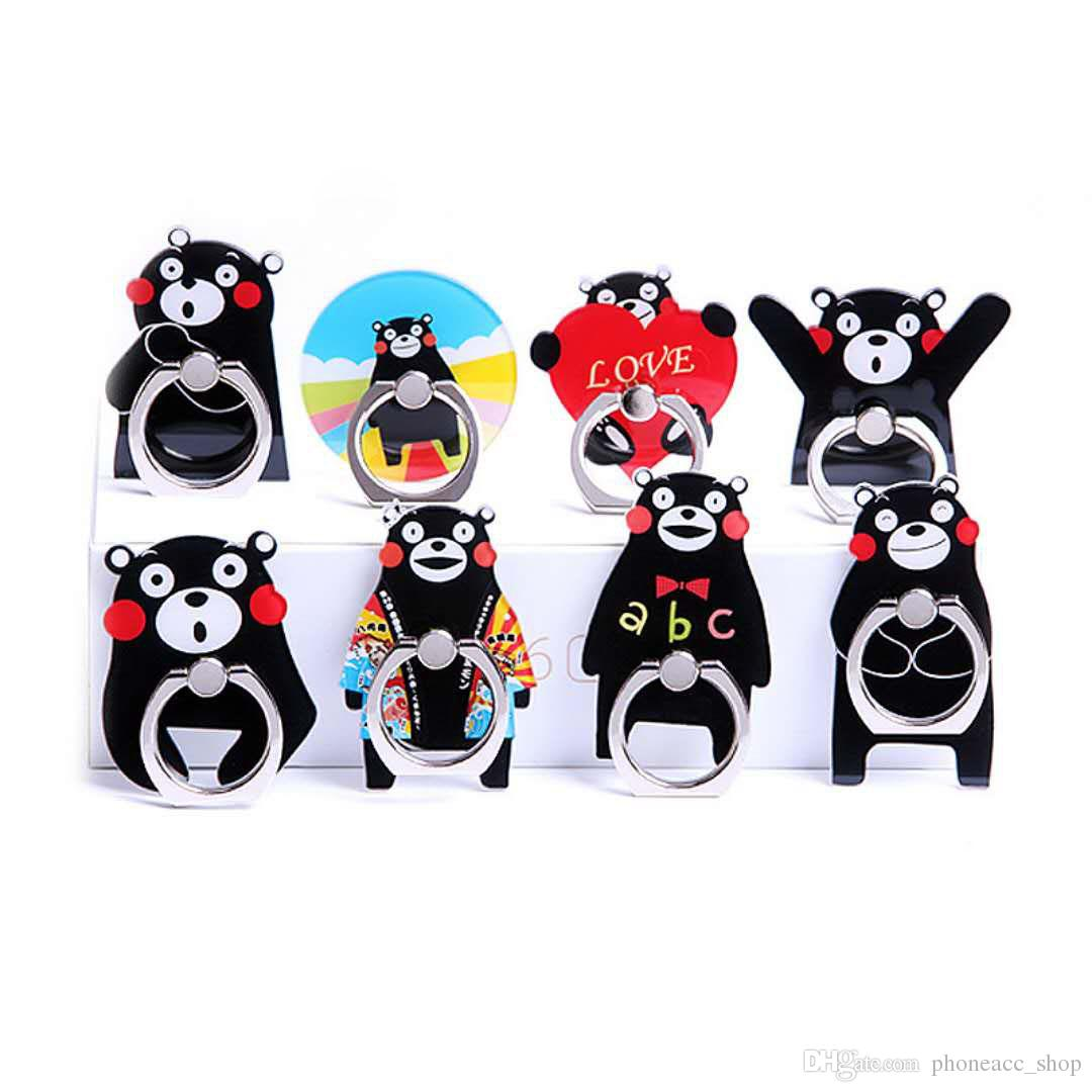 Universal 360 Degree Black Bear Finger Ring Holder Cartoon Phone Stand Mount Support For iPhone Samsung Mobile Phones