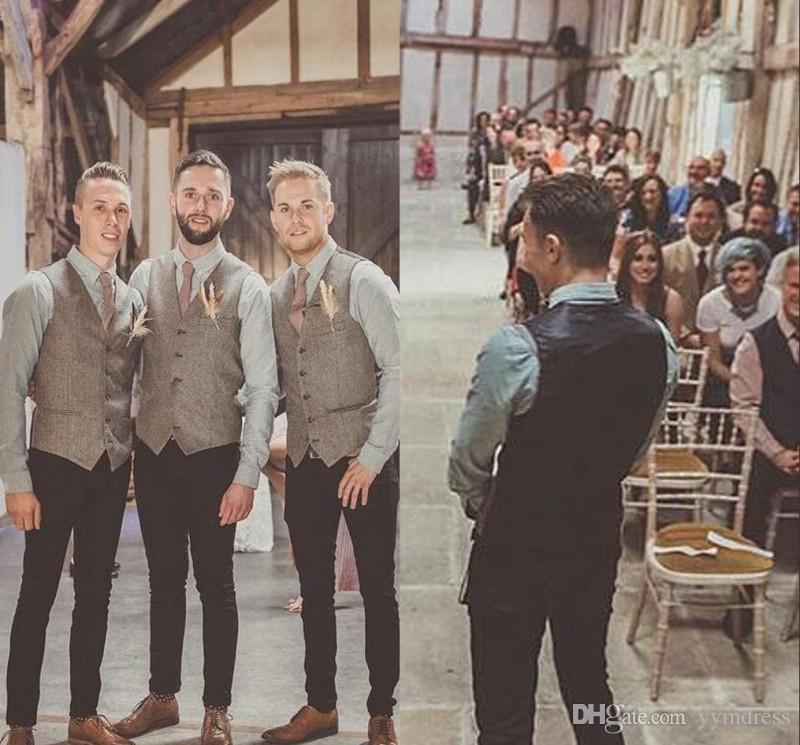 Grosshandel 2019 Vintage Brown Tweed Hochzeit Brautigam Westen Wolle