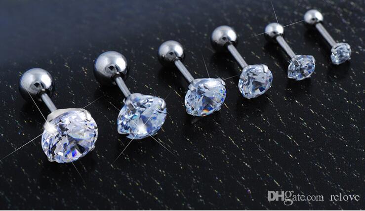 Zircon Crystal Stud Earrings 3/4/5/6/7/8mm Gold/Silver Plated Stud Earrings for Women/Men Luxury Jewelry ear bone nail