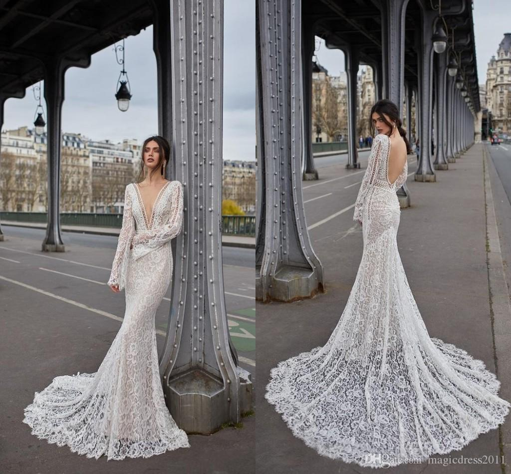 2019 Mermaid Wedding Dresses Deep V Neck Lace Pearls Sweep Train Long Sleeve Bridal Dress Sexy Wedding Gowns Formal Dresses