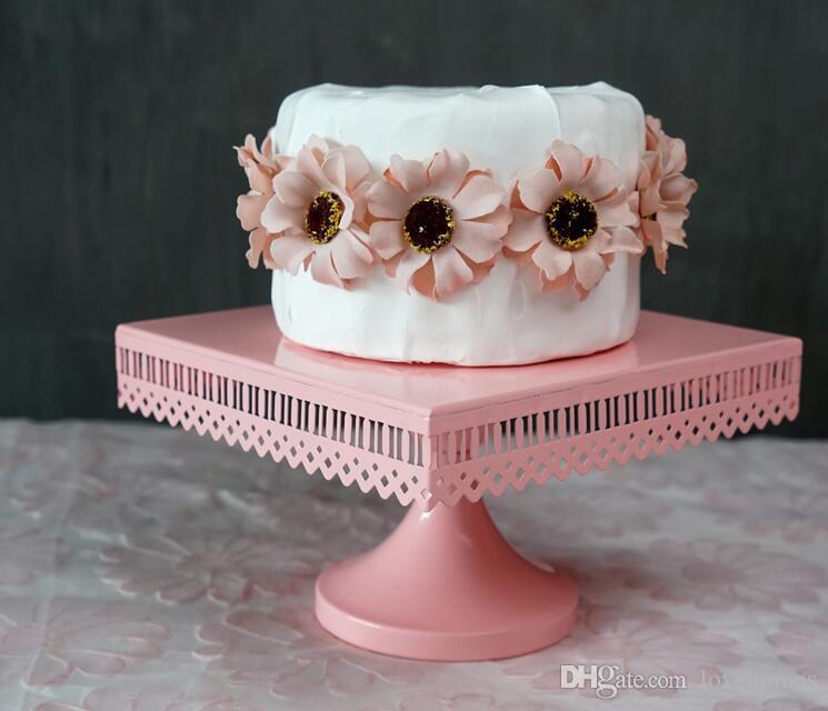 الوردي والأبيض ألوان مربعة المخرم الرباط المعادن كب كيك تقف حفل زفاف كب كيك
