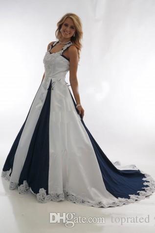 Vintage Lacivert ve Beyaz Ülke Ucuz Gelinlik 2019 Halter Dantel-up Dantel Leke Batı Cowgirls Elbiseler Artı Boyutu Gelinlikler