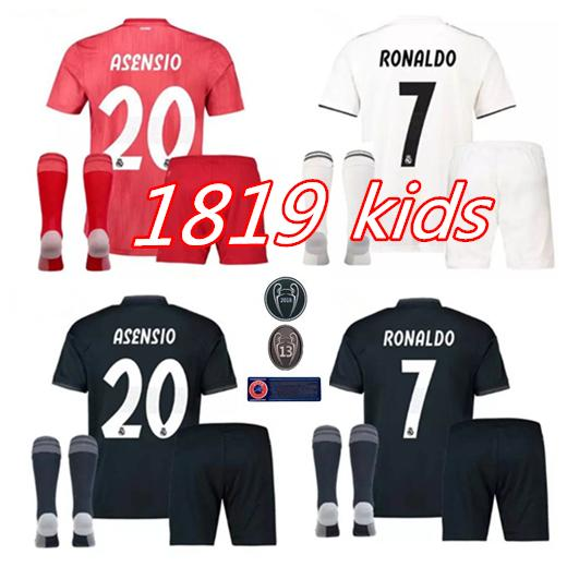 2019 Kids Kit Real Madrid Football Jersey 2018 19 Home White Away ... 7b0fca02d