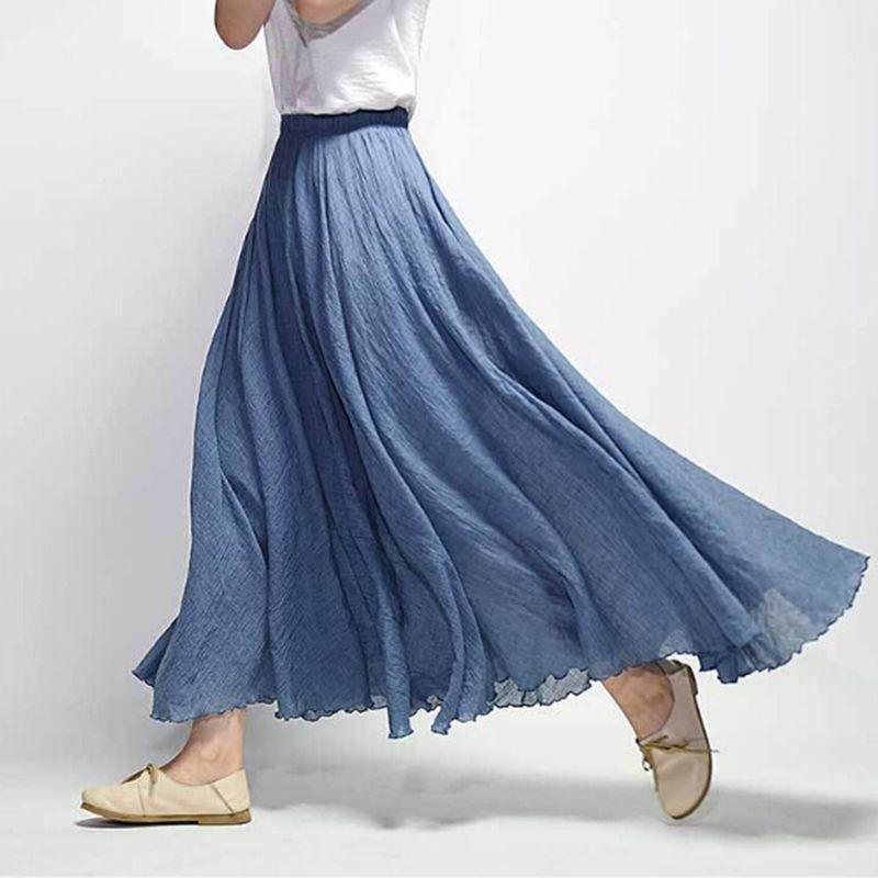 38c96d89224b 2019 Linen Maxi Skirt Pleated Vintage Boho Maxi Long Casual Cotton Beach  Skirt Empire A Line Linen Skirt Ladies KH847321 From Qinfeng04, $32.44 |  DHgate.Com