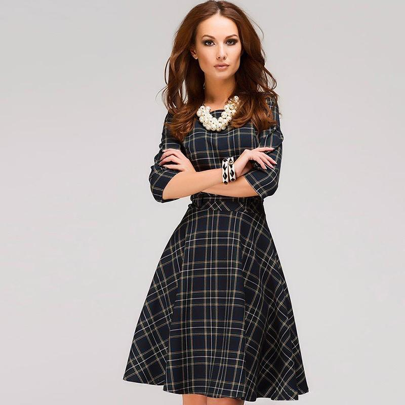 9161333304 2019 Scottish plaid red mini dress Three Quarter Sleeve O-neck simple  A-line printing dress Autumn dress fashion women Vestidos