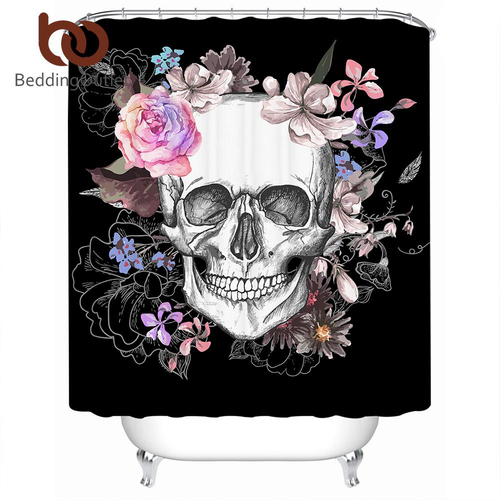 2019 BeddingOutlet Sugar Skull Shower Curtain Flowers Printed Waterproof Bath Floral Polyester Bathroom Decoration With Hooks From Huweilan