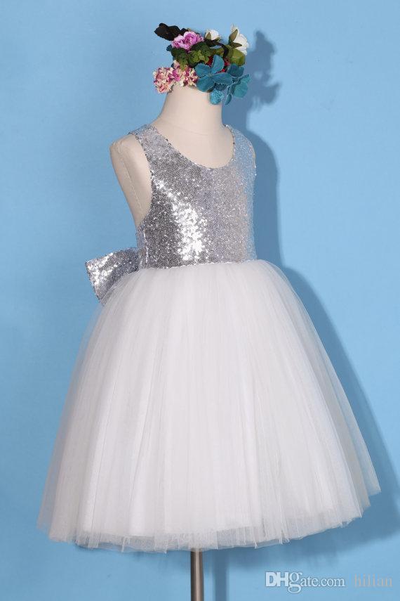 a21a464ddbd7c Acheter Nouvelle Fleur Fille Robe Petite Fille Princesse Blanc Argent Tulle  Demoiselle D honneur Pour L occasion De Mariage Formel Souhaitez Sash  Princesse ...