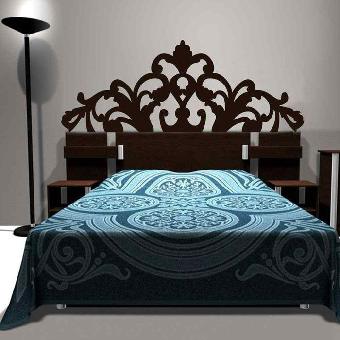 Brief Baroque Pattern style Headboard Decal Bed Vinyl Wall Sticker Beautiful Flower Bedroom Dorm Wall Decor Home Decoration