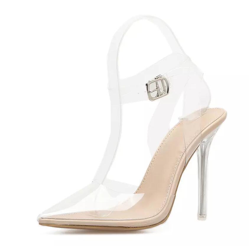 Compre Rumbidzo Mujeres Sandalias De PVC Punta Estrecha Transparente  Transparente Tacones Altos Bombas Stilettos 2018 Slingback Vestido De Novia Zapatos  De ... beb5b7693b3c