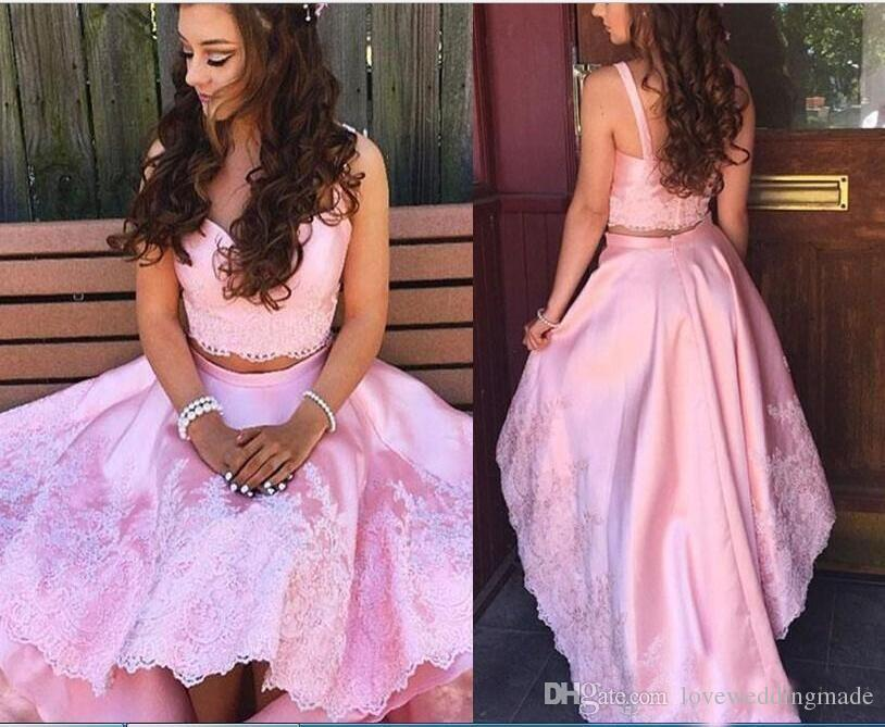 50b94f69 2018 Summer Cute Pink Two Pieces Prom Dresses High Low Applique Lace Skirt  Cheap Girls Formal Party Gowns Camo Prom Dress Celebrity Prom Dresses From  ...