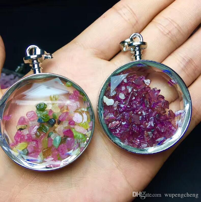 Natural gem stone heart pendant, wishing bottle pendant, powder crystal amethyst stone and other stone glass heart bottle charms fashion jew