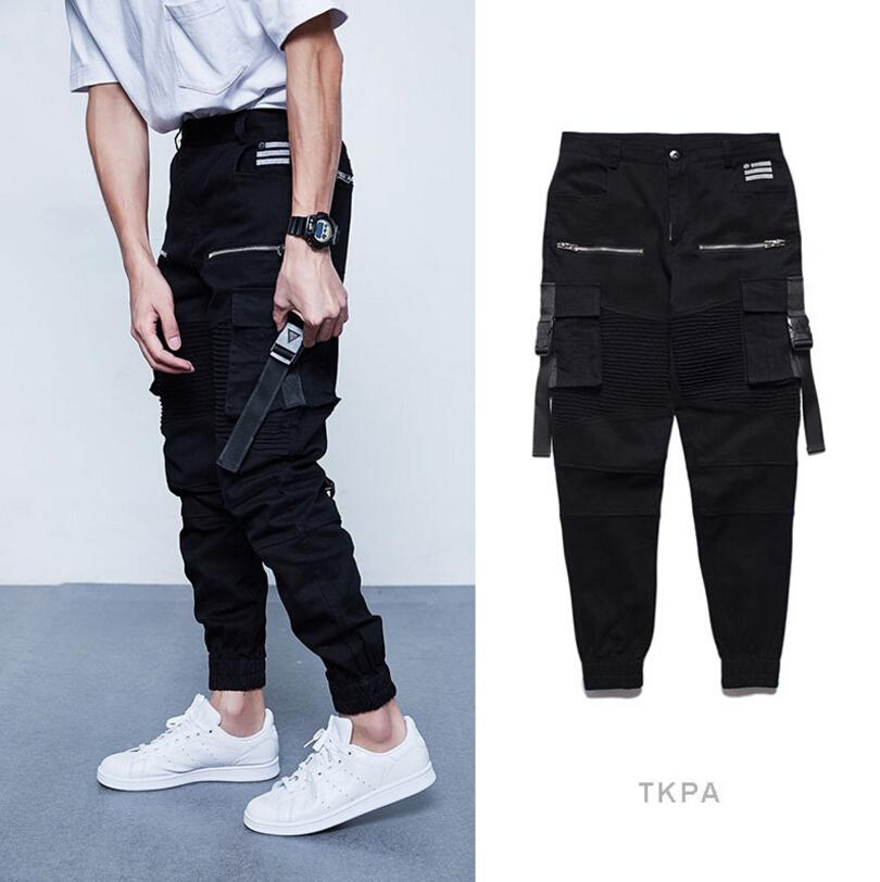 f0a3aed22980bc TKPA Multi Pockets Pants Mens Spring Clothing Black Cargo Long Pants Button  Fly Design Slim Fit