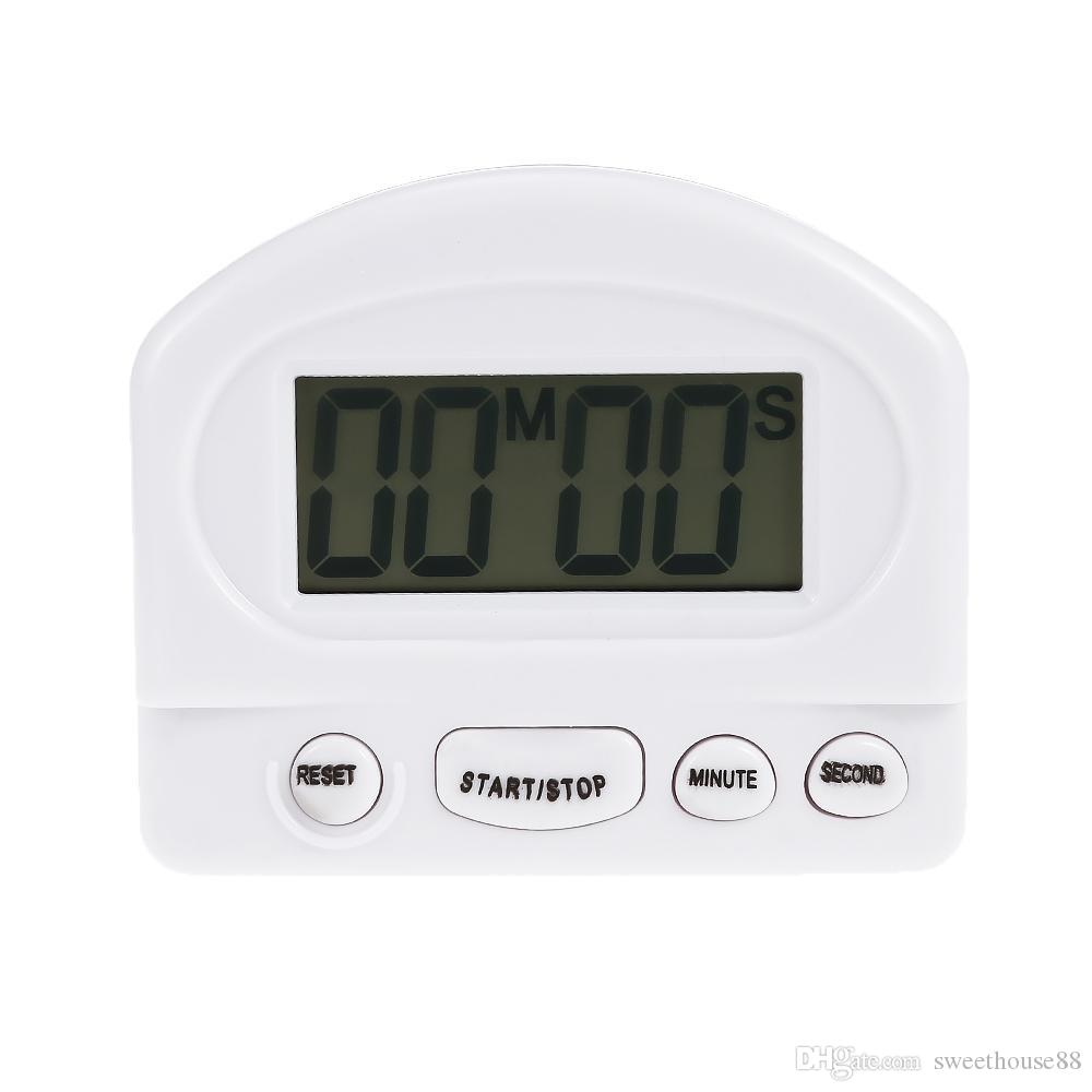 LCD digitale da cucina con timer per il conto alla rovescia con stand Timer  da cucina bianco Timer da cucina pratico Sveglia Tempo Promemoria ...