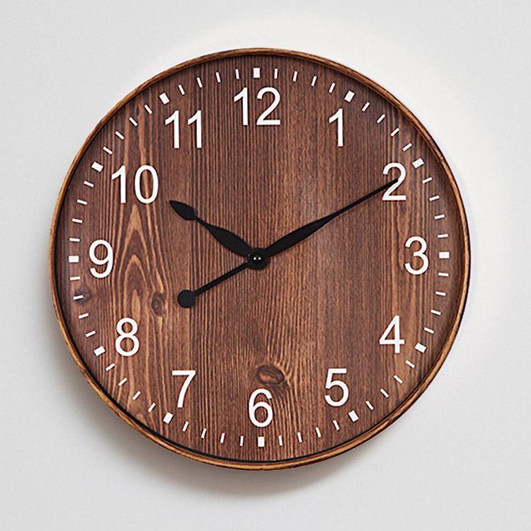 Großhandel Dekorative Uhr Wohnzimmer Retro Nachahmung Holz Wanduhr ...