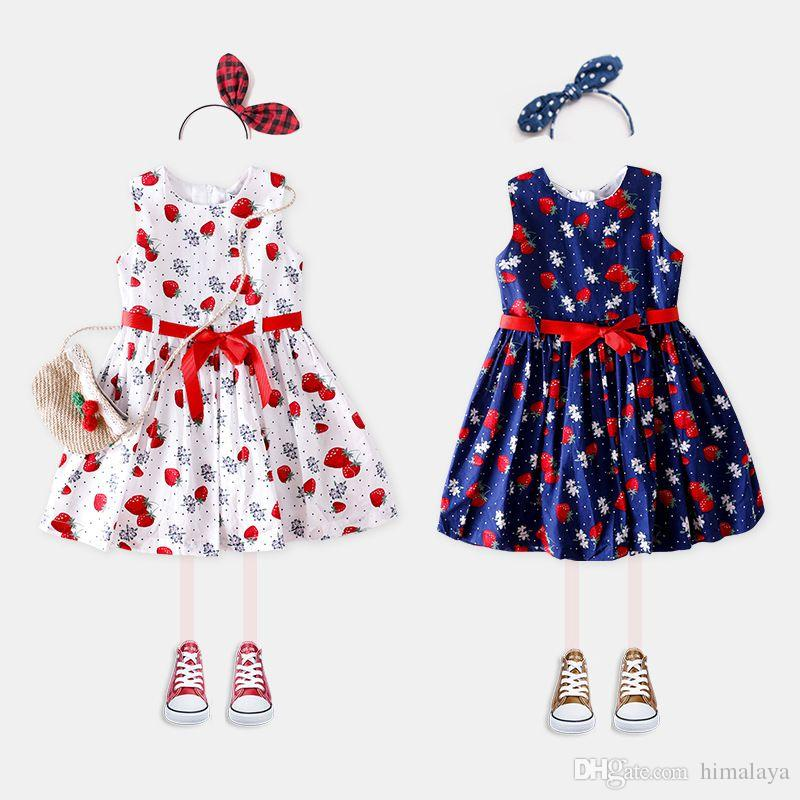 6a40118449378 2019 Baby Girls Strawberrys Dresses Kids Summer Jumper Dress Children  Casual Clothing For 90 140cm From Himalaya