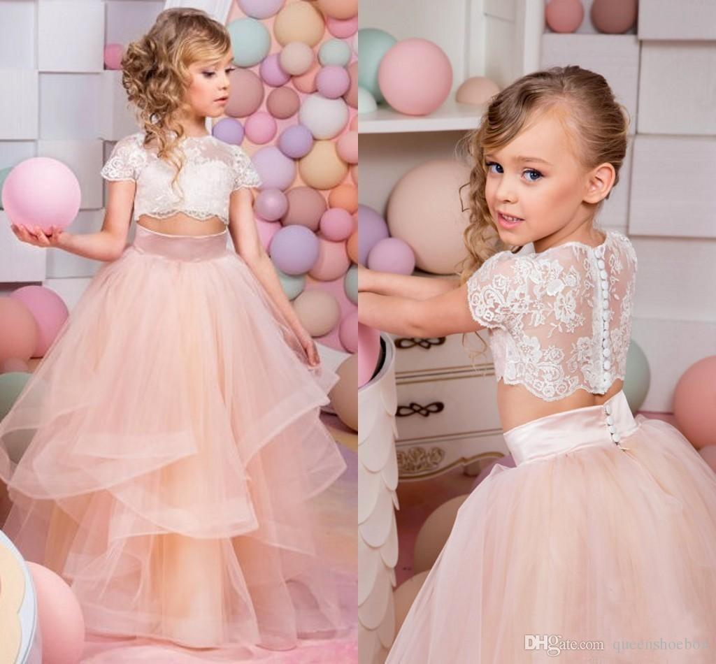 .2018 New Two Piece Flower Girl Dress White Lace Top Tutu Skirt Short Sleeves Blush Tulle for Wedding Kids Party Birthday Gown Pageant