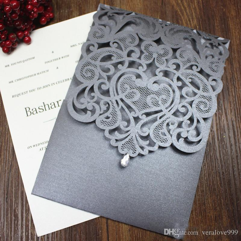 Crystal Wedding Invitation Country Silver Grey Wedding Engagement Invitations Flower Laser Cutting Custom Design Multi Colors Accessory