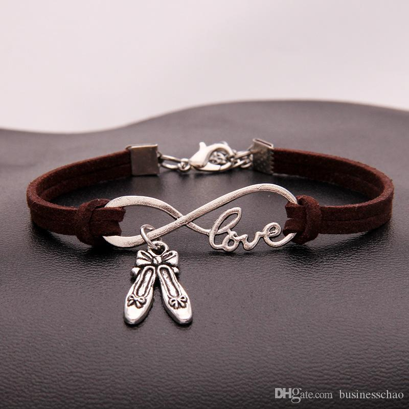 AFSHOR Hot Fashion Antique Silver Dance Shoes Charms Pendant Infinity Love Multicolor Leather Bracelets Gifts For Women Dance Jewelry