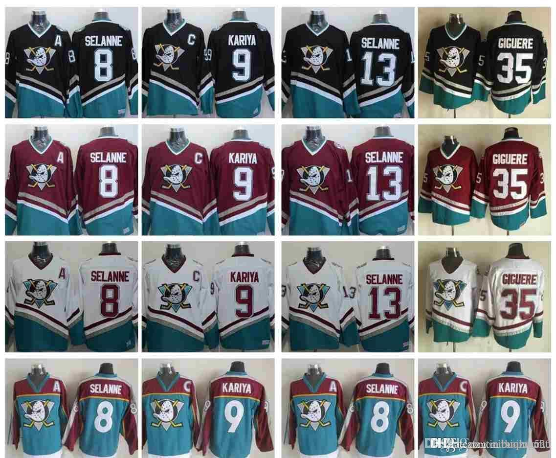 quality design 7cc01 8e795 ... order 2018 vintage anaheim mighty ducks hockey jerseys 8 teemu selanne  9 paul kariya 35 jean