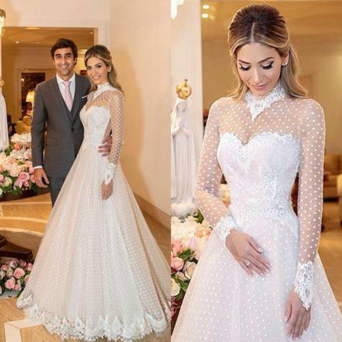 Discount 2019 Spring High Collar Wedding Dress Lace Long Sleeves Dot